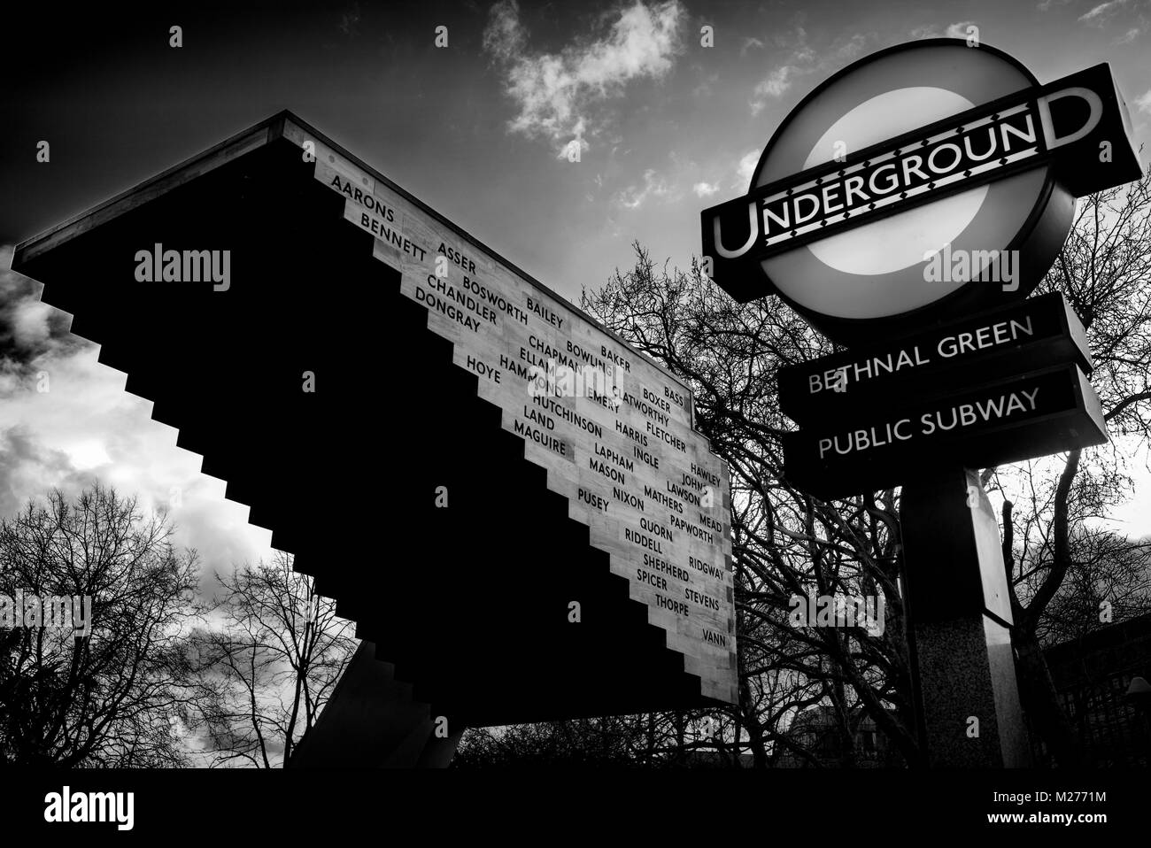 Bethnal Green Tube Disaster Memorial, Bethnal Green London England UK 2018 During a German bombing raid on east - Stock Image