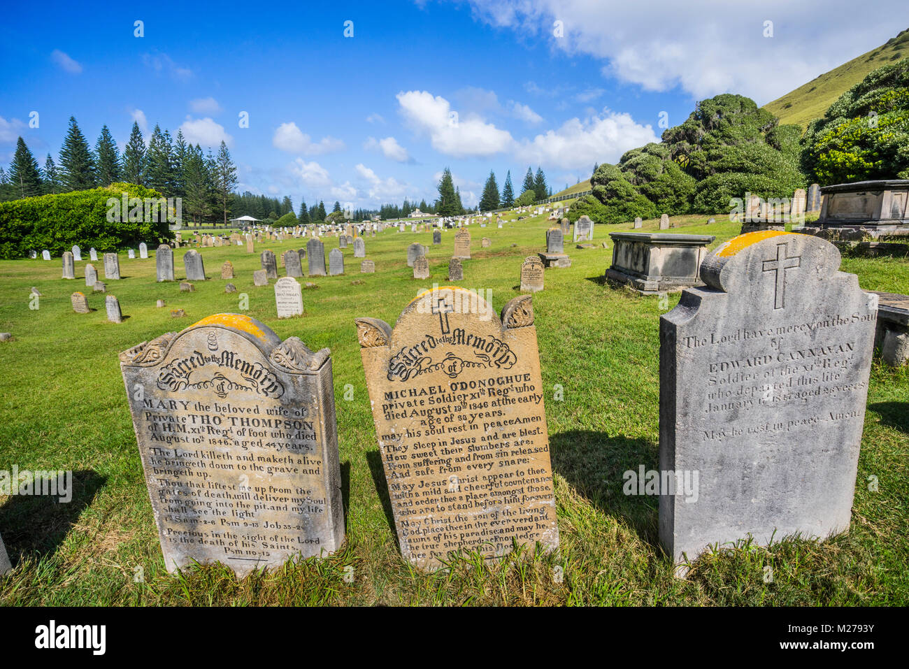 Norfolk Island, Australian external territory, Kingston, the historic Norfolk Island Cemetery contains graves of - Stock Image