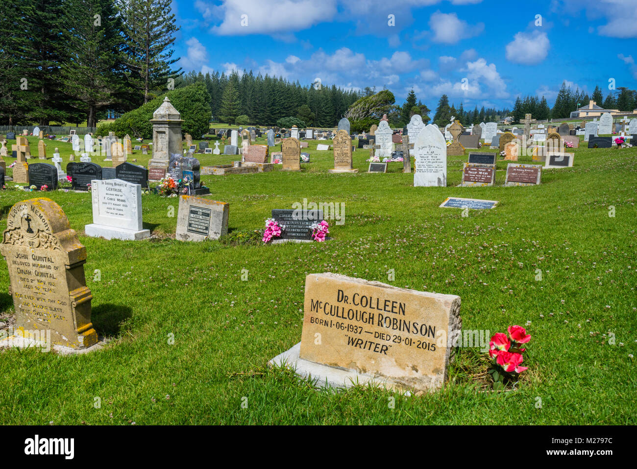 Norfolk Island, Australian external territory, grave of writer Colleen McCullough Robinson at Norfolk Island cemetery - Stock Image