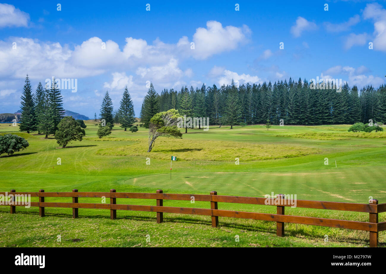 Norfolk Island, Australian external territory, Kingston, scenic putting green at the Norfolk Island Golf course - Stock Image