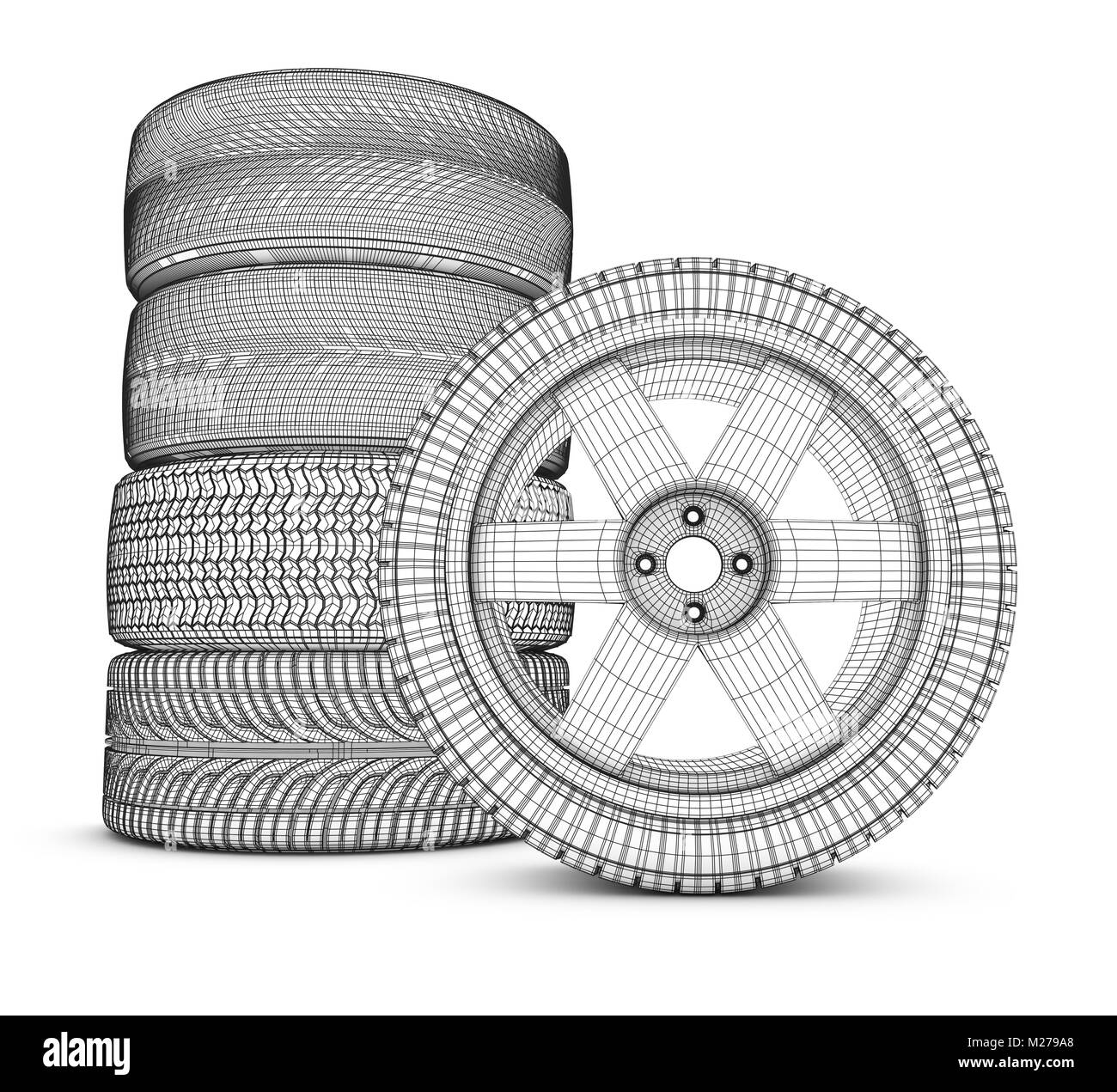 Wheels on a white background. 3d rendering. - Stock Image