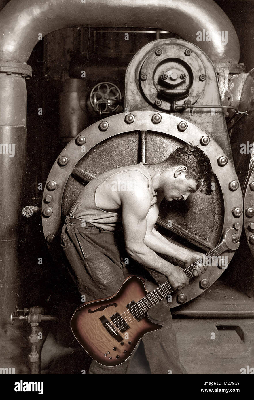 Photo composite of mechanic with electric guitar. Lewis Hine photo of Power house mechanic working on steam pump, - Stock Image