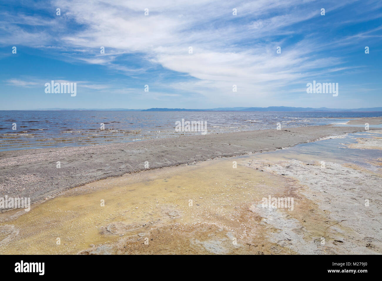 Dried Seabed at The Salton Sea, Bombay Beach, California - Stock Image