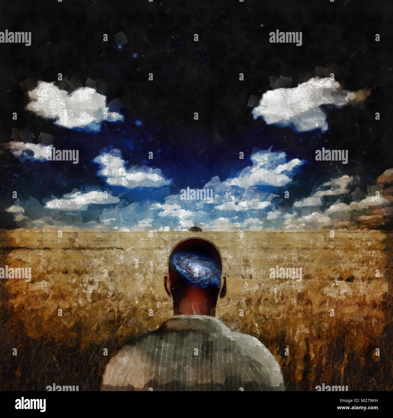 Surreal painting. Man with galaxy inside of his head stands in the field of wheat. - Stock Image