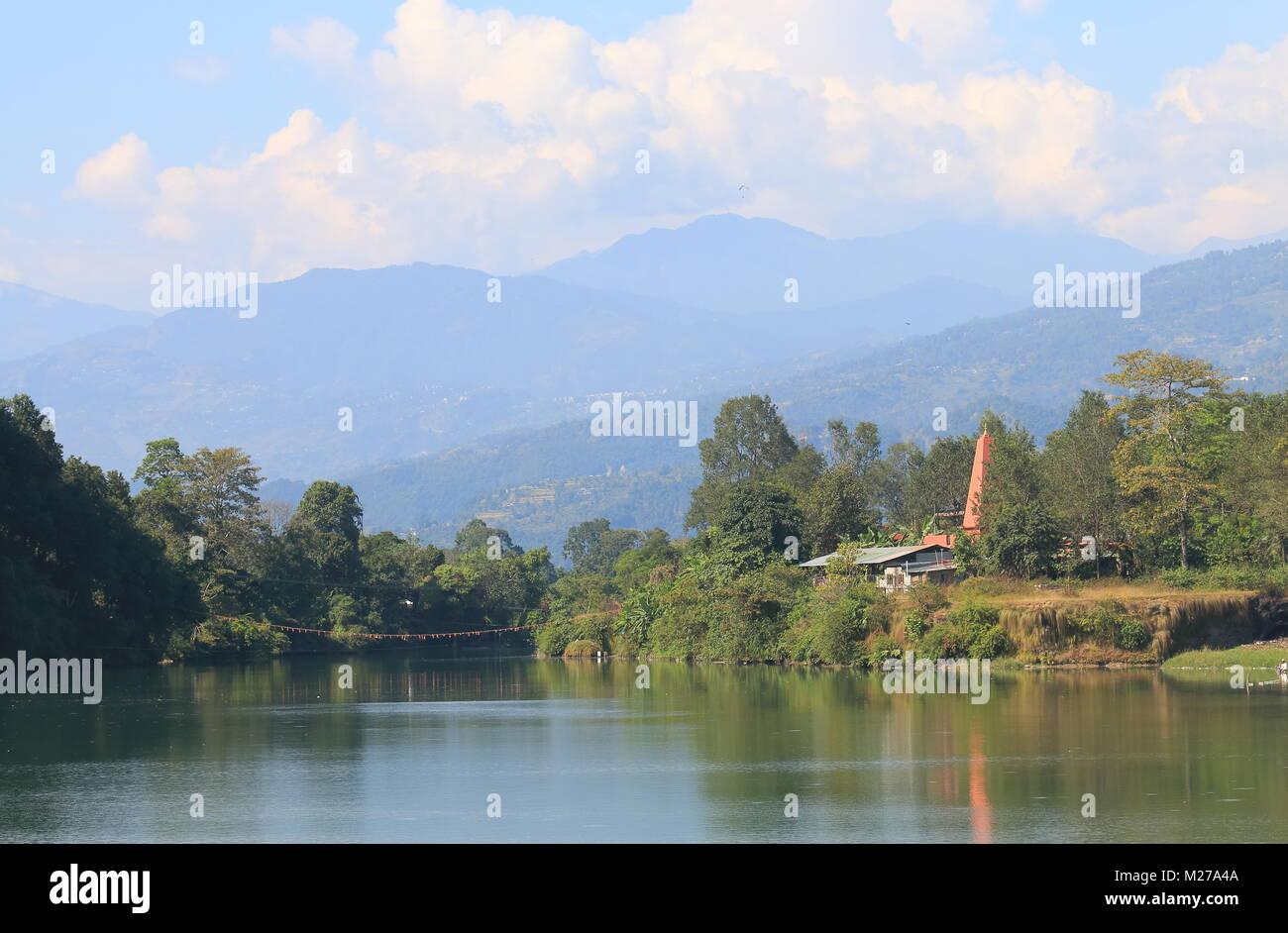 Dam Side Park landscape in Pokhara Nepal. - Stock Image