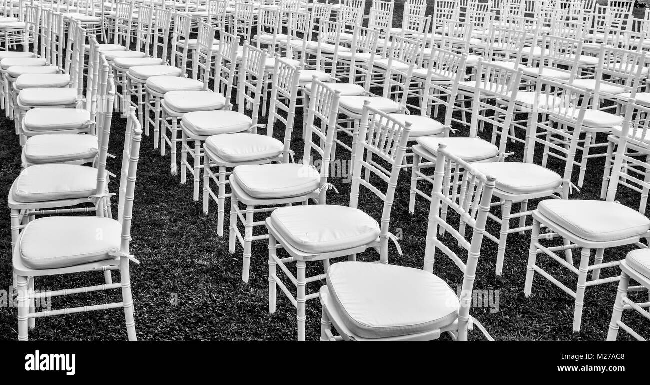 White Chairs At A Wedding Indoor Stock Photo: Many Chairs In A Row For A Wedding Cerimony, Event Or