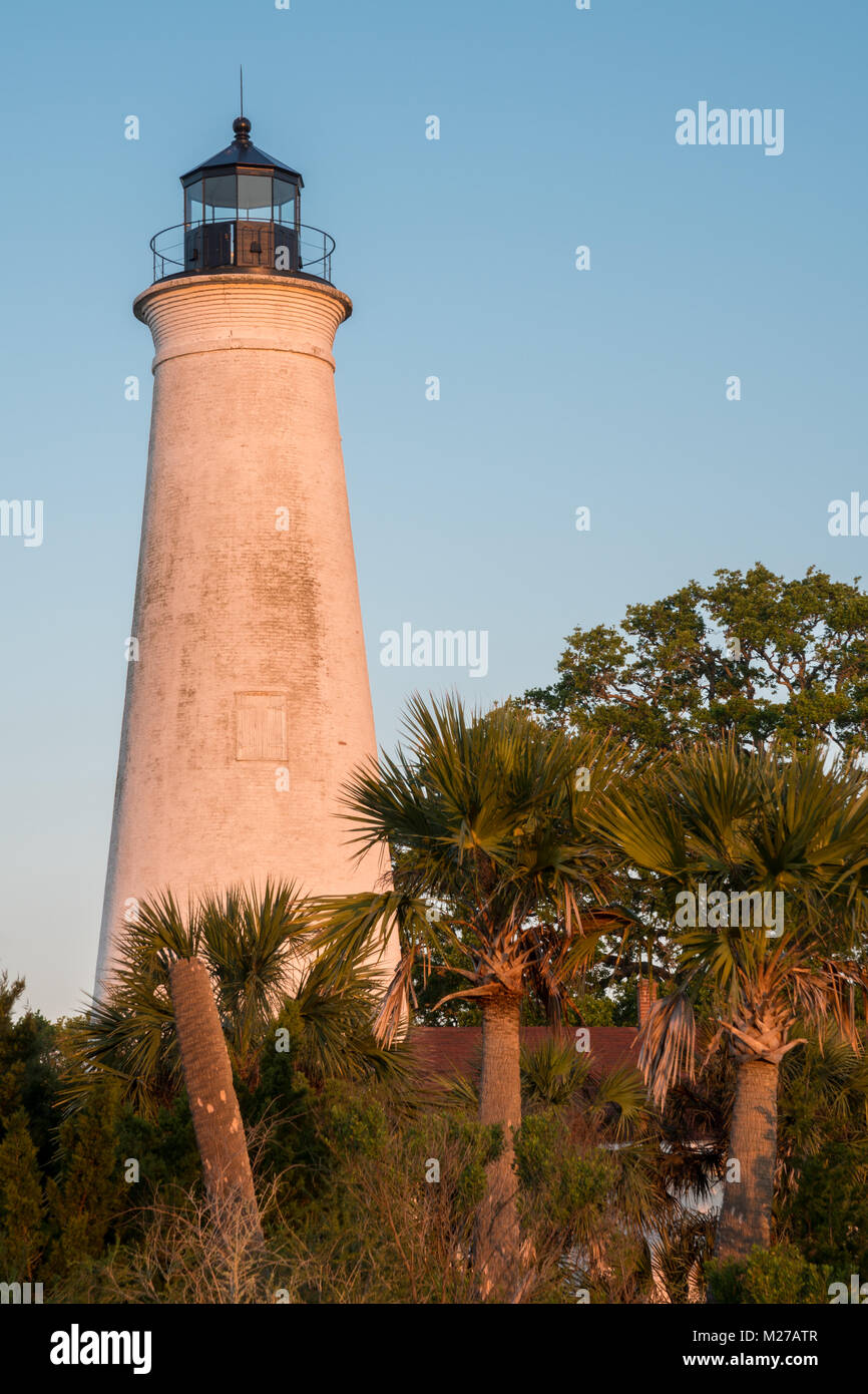 St. Marks Lighthouse, St. Marks Wildlife Refuge, Florida - Stock Image