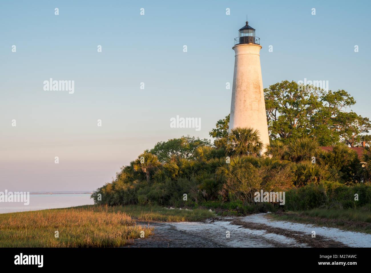 St. Marks Lighthouse, St. Marks Wildlife Refuge, Florida - Stock Image