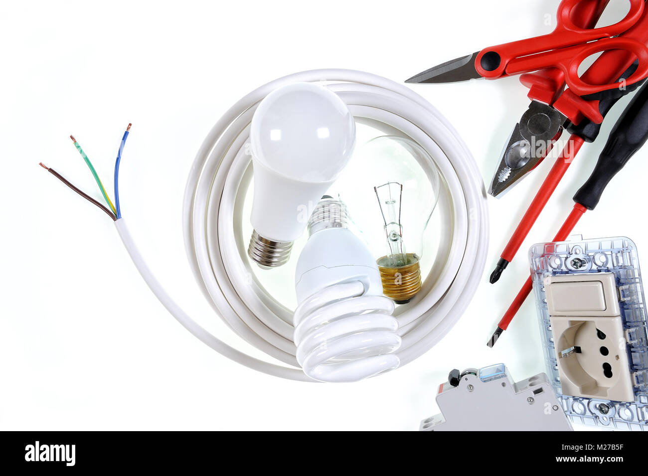 Close Up Of Work Tools And Components For A Residential Electrical Electric Wiring Installation Photographed On White Background