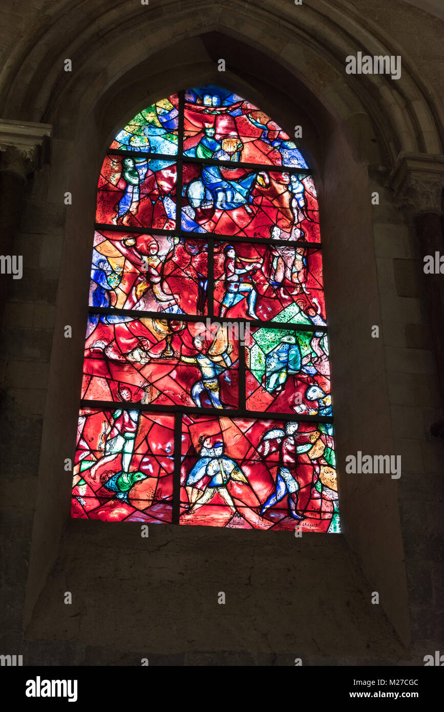 Stained Glass Window, Chichester Cathedral Interior, Chichester, West Sussex, England - Stock Image