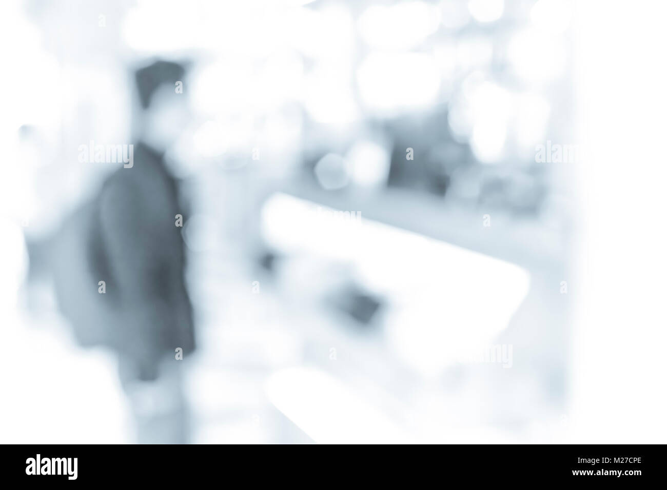 Abstract background of people on shopping mall in B&W color - Stock Image