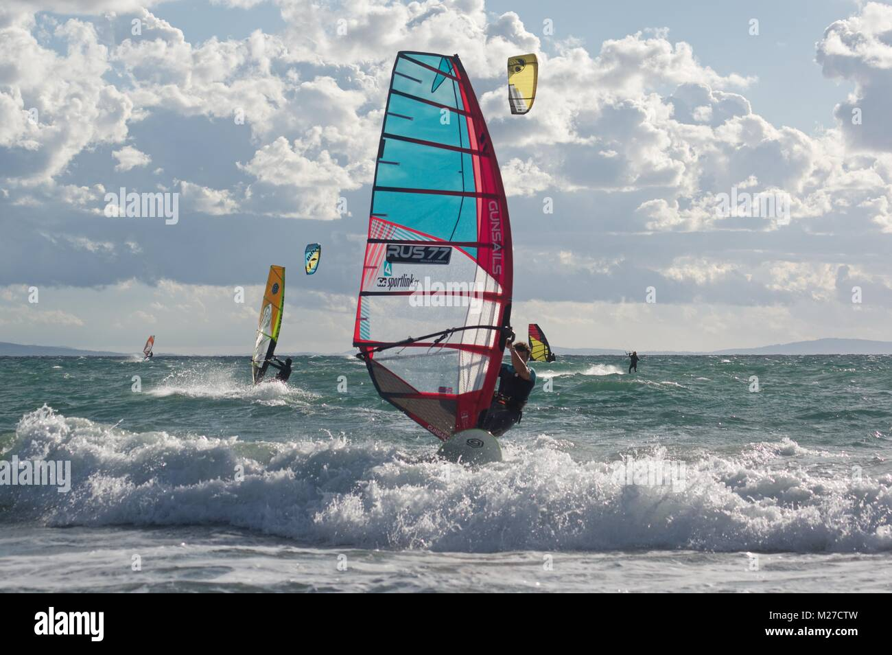 Watersports at Los Lances beach, Tarifa, Spain - Stock Image