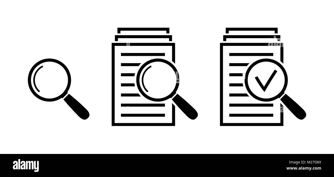 Magnifying glass icon set, search documents signs - Stock Vector
