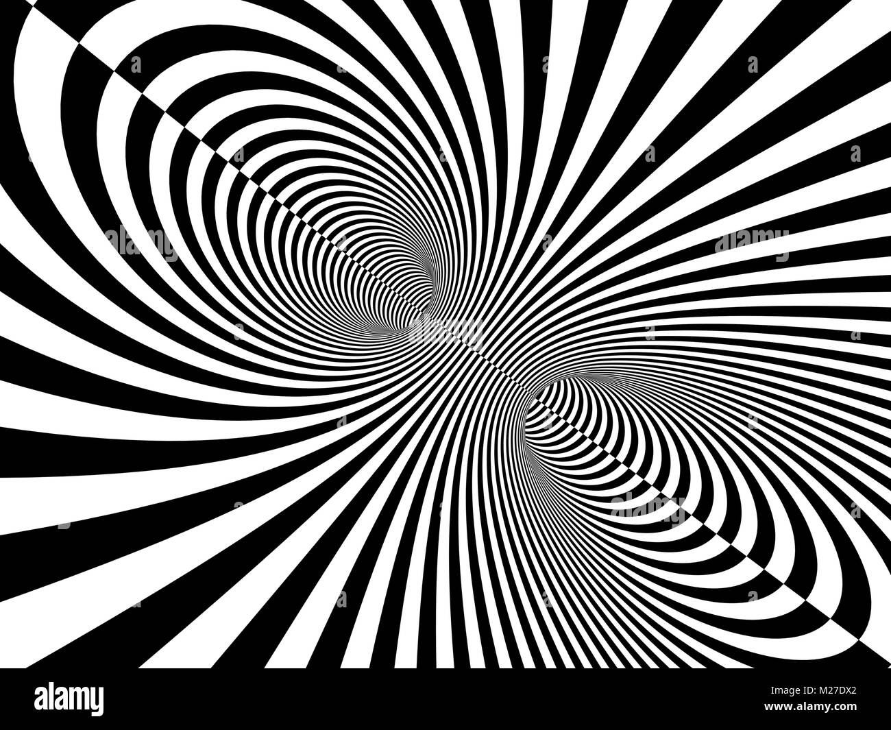 Abstract illusion. Black and white. Background with tube shape with striped pattern. 3d render - Stock Image