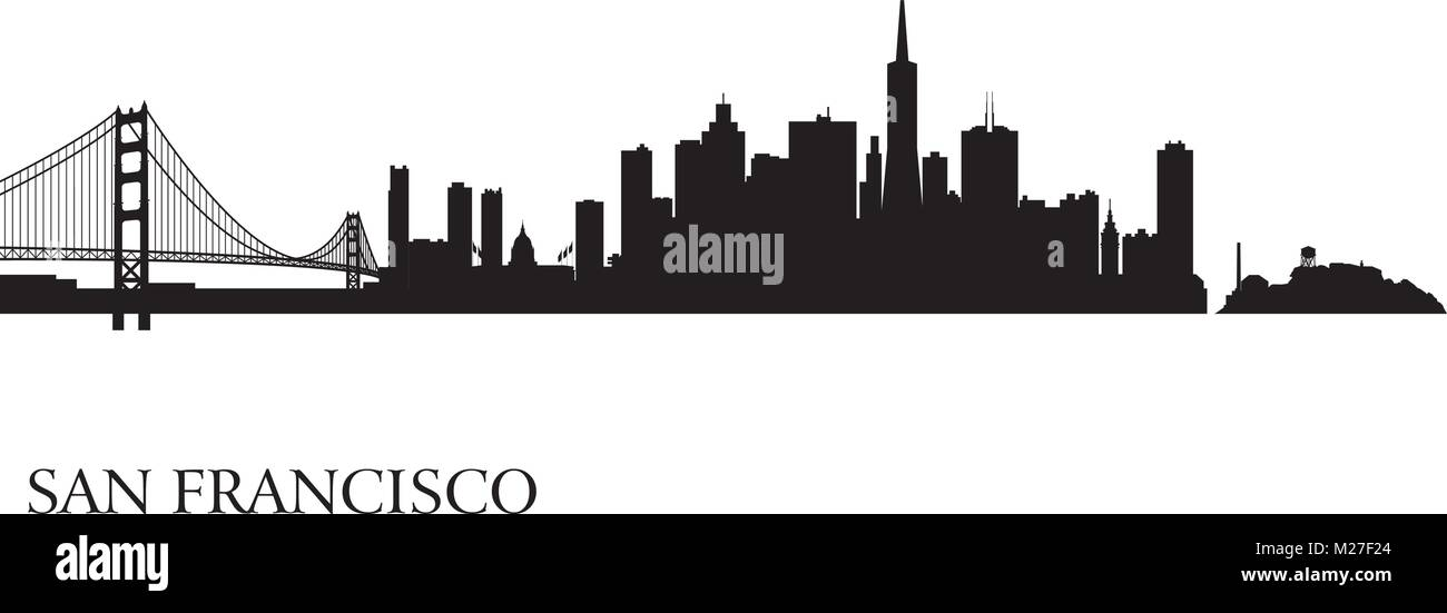 San Francisco city skyline silhouette background. Vector illustration - Stock Image
