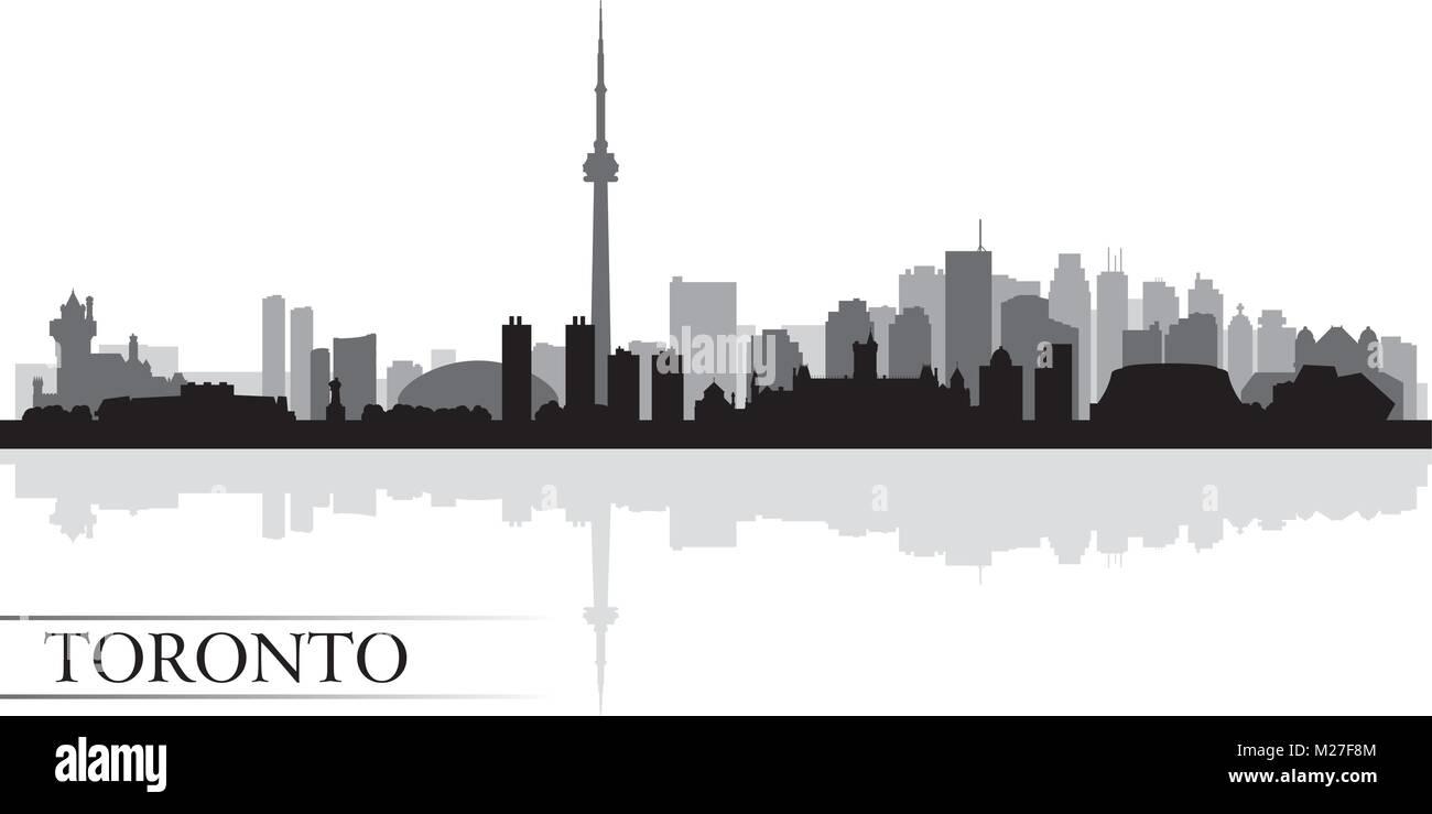 Toronto city skyline silhouette background, vector illustration - Stock Vector