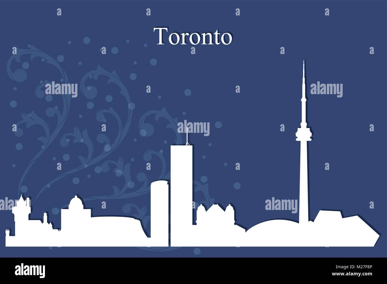 Toronto city skyline silhouette on blue background, vector illustration - Stock Vector
