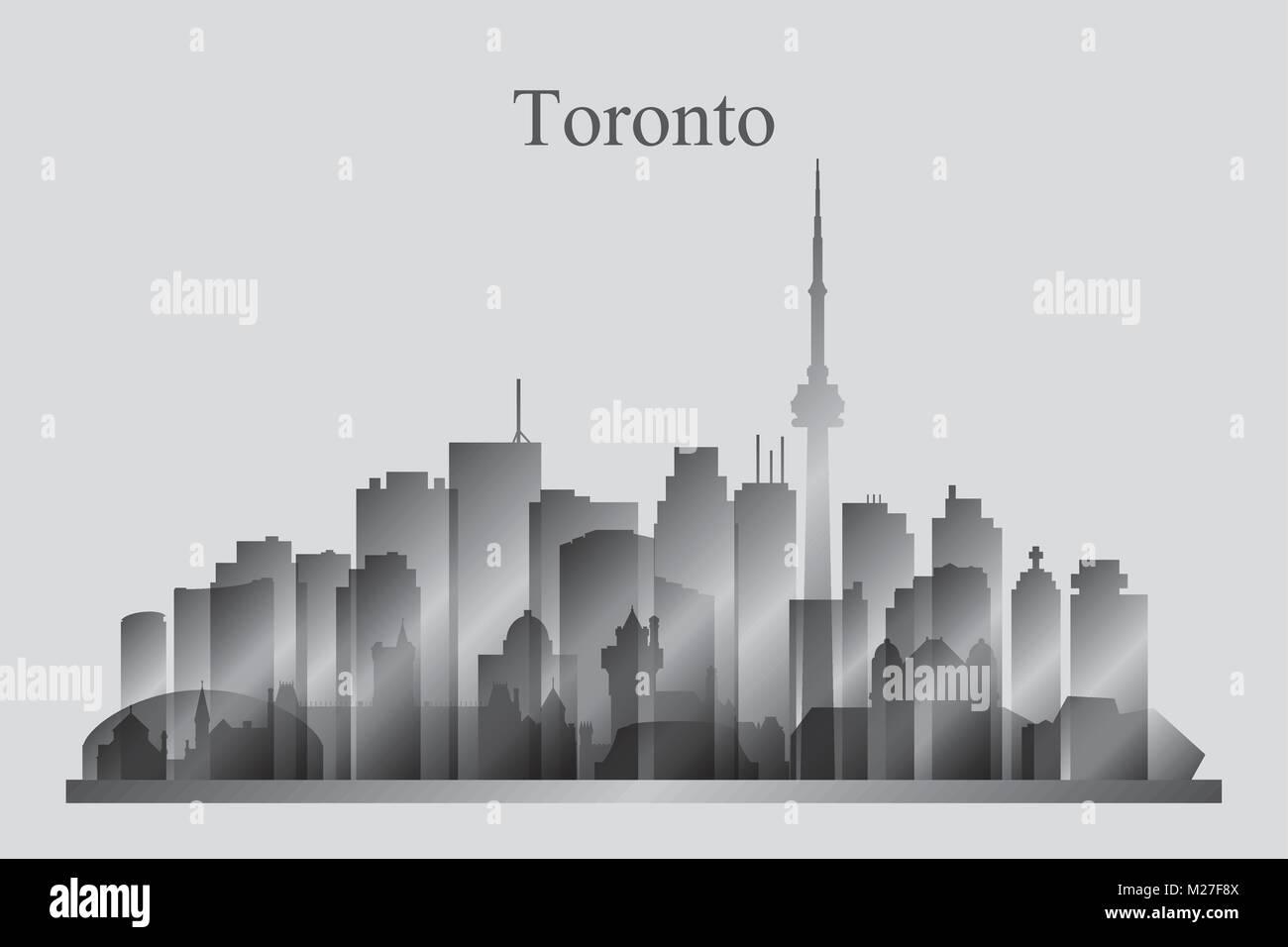 Toronto city skyline silhouette in grayscale, vector illustration - Stock Vector