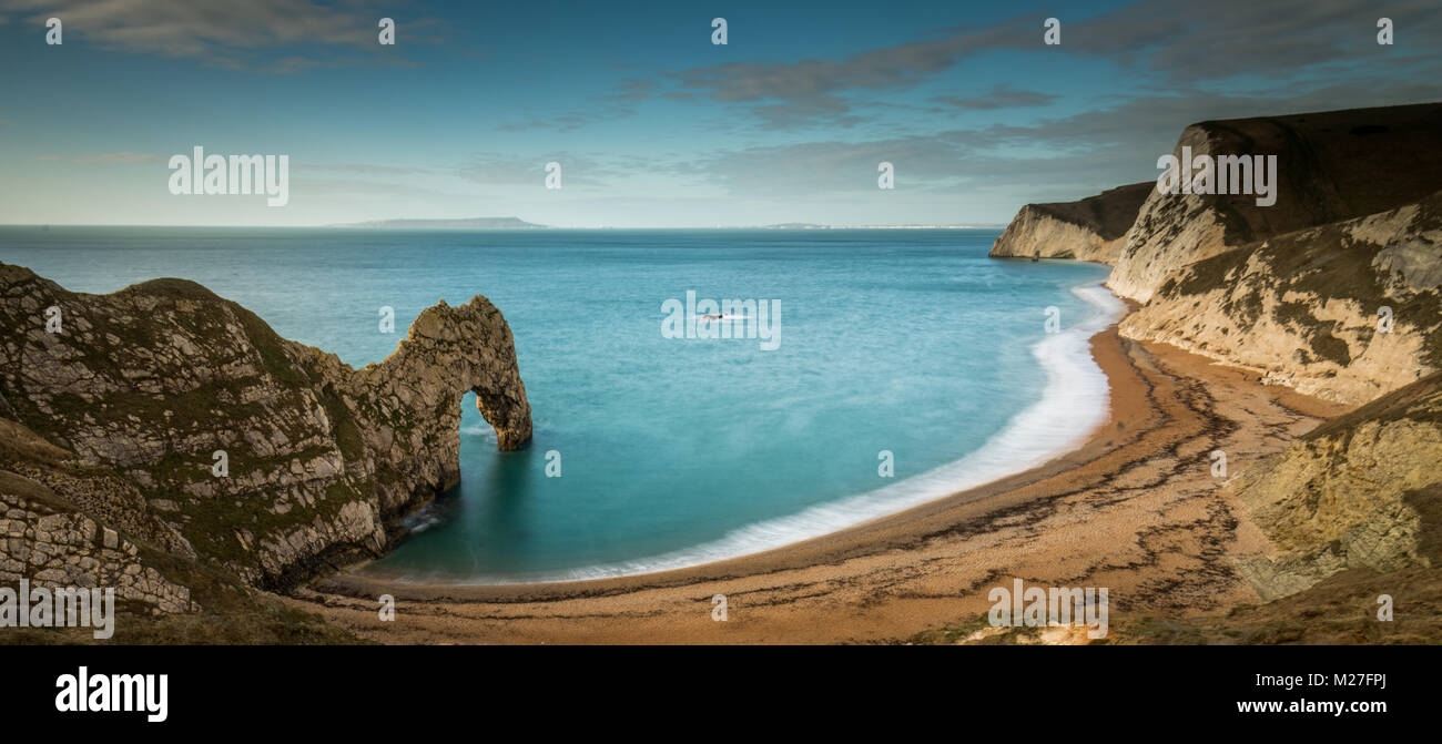 Durdle Door a natural limestone arch on the Jurassic Coast in Dorset - Stock Image