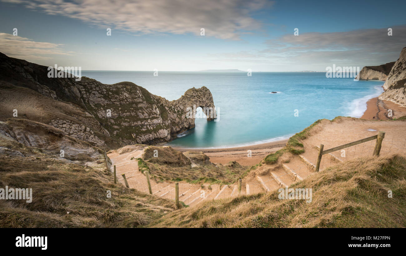 Durdle Door a natural limestone arch on the Jurassic Coast in Dorset Stock Photo