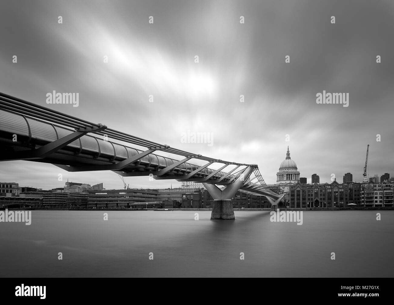 The Millennium Footbridge and St Paul's Cathedral - Stock Image
