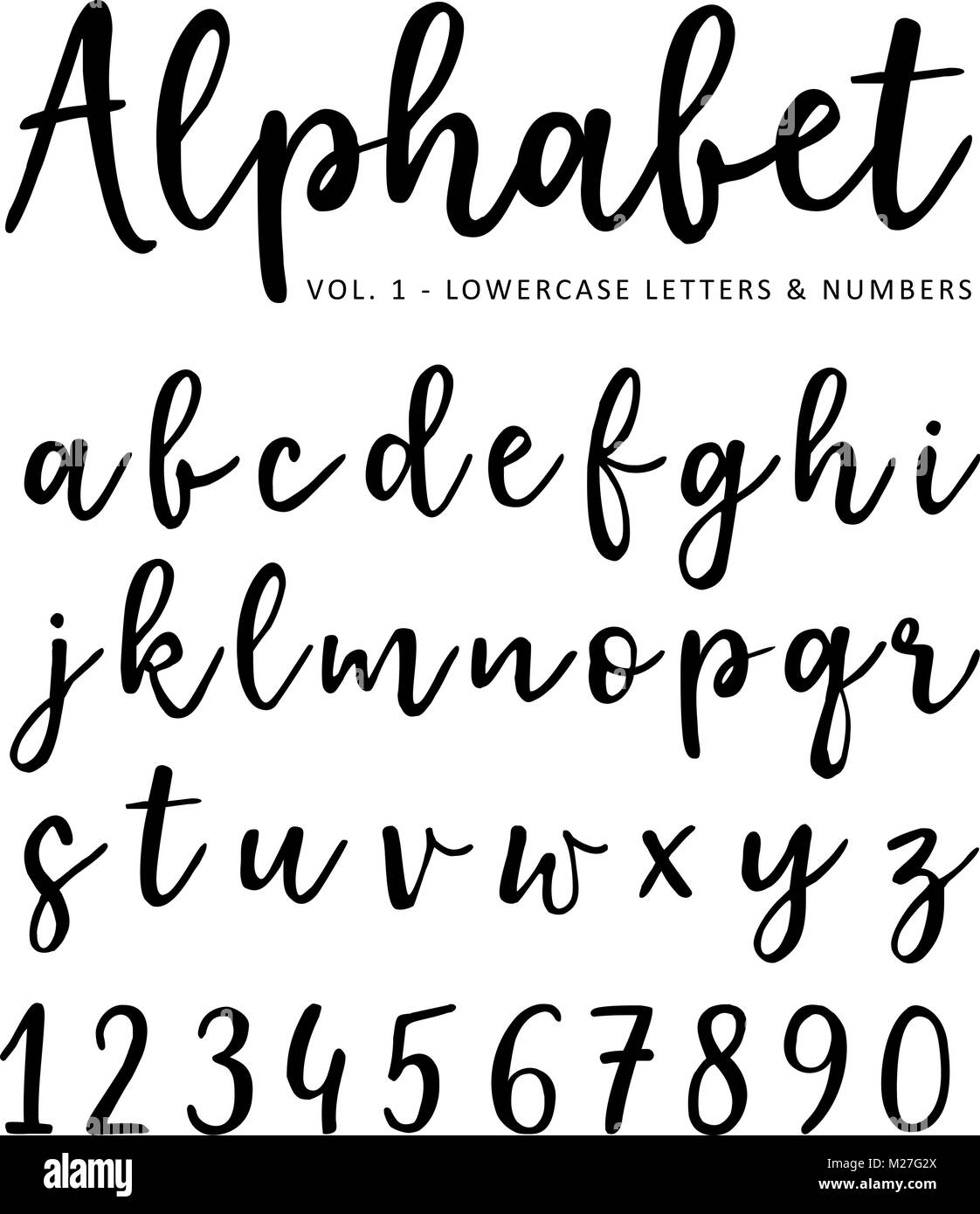 Hand Drawn Vector Alphabet Brush Script Font Isolated Lower Case Letters And Numbers Written With Marker Or Ink Calligraphy Lettering