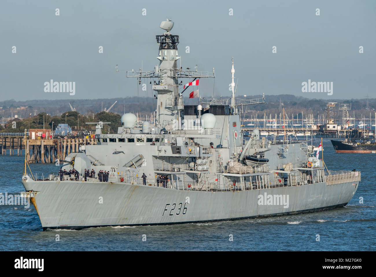 The British Royal Navy Type 23 Frigate, HMS Montrose, departing from Portsmouth, UK on the 5th February 2018. Stock Photo