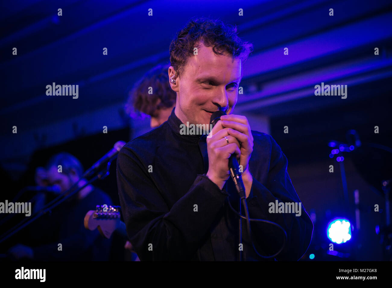 Norway, Trondheim - February 1, 2018. The Norwegian indie rock band Insomniac Bears performs a live concert during - Stock Image