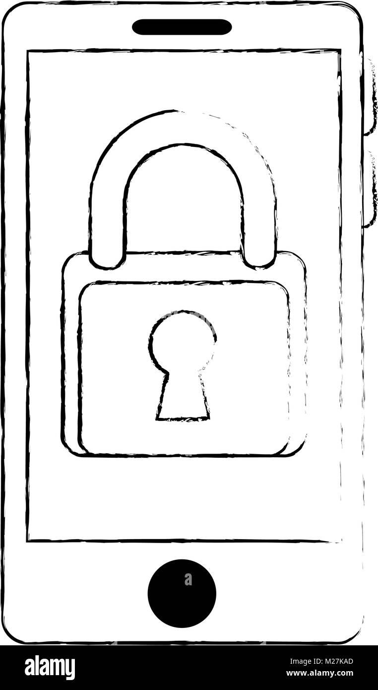 smartphone device with padlock - Stock Image