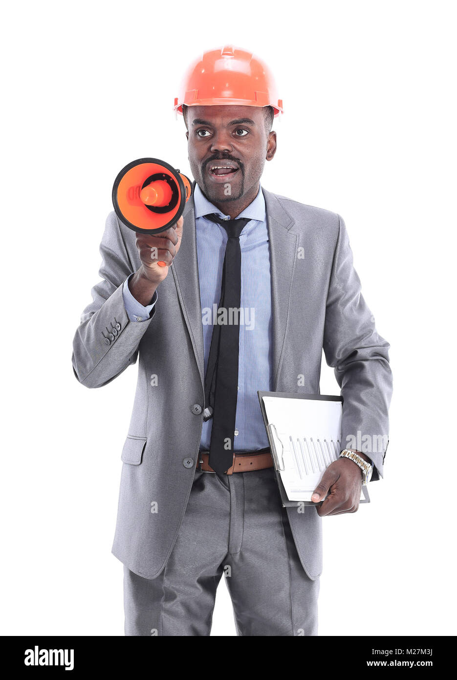 black worker giving orders with a megaphone - Stock Image