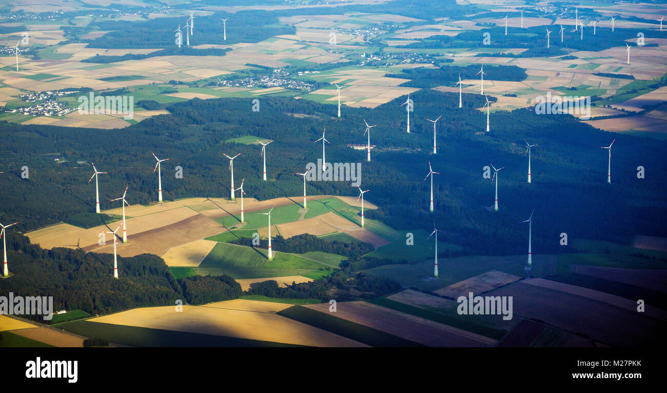 Aerial view on a wind farm close Kisselbach at Hunsrueck region, Rhineland-Palatinate, Germany, Europe - Stock Image