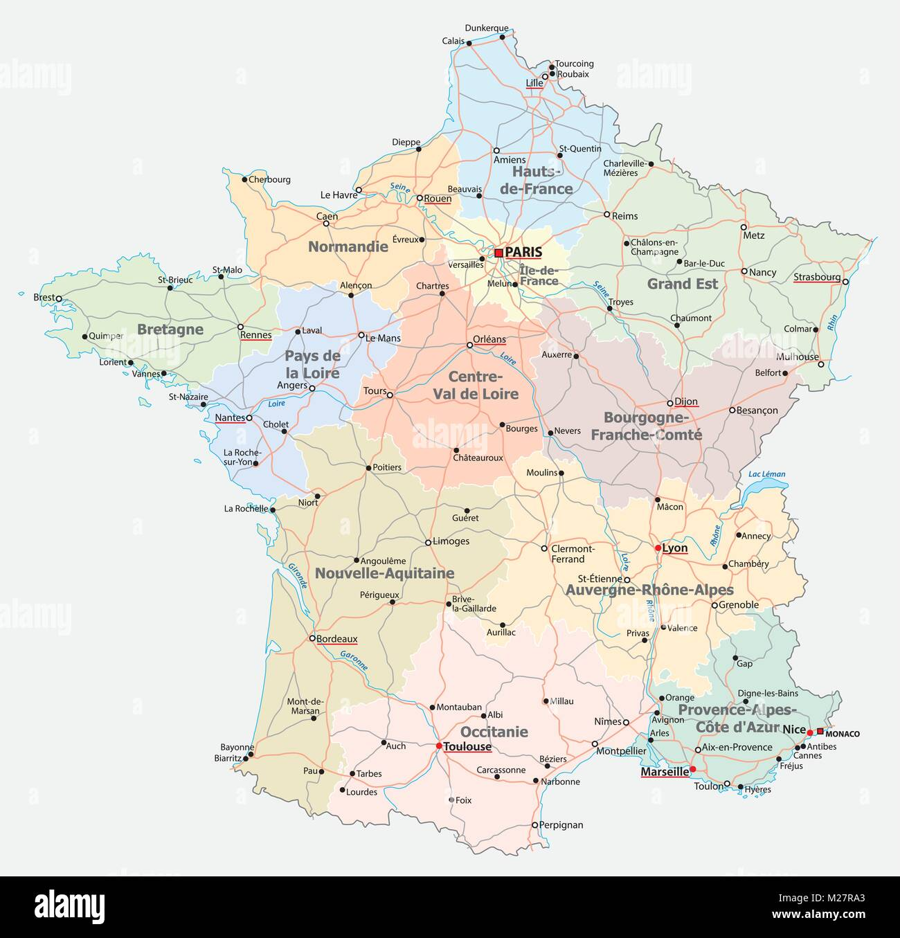france road, administrative and political vector map - Stock Vector