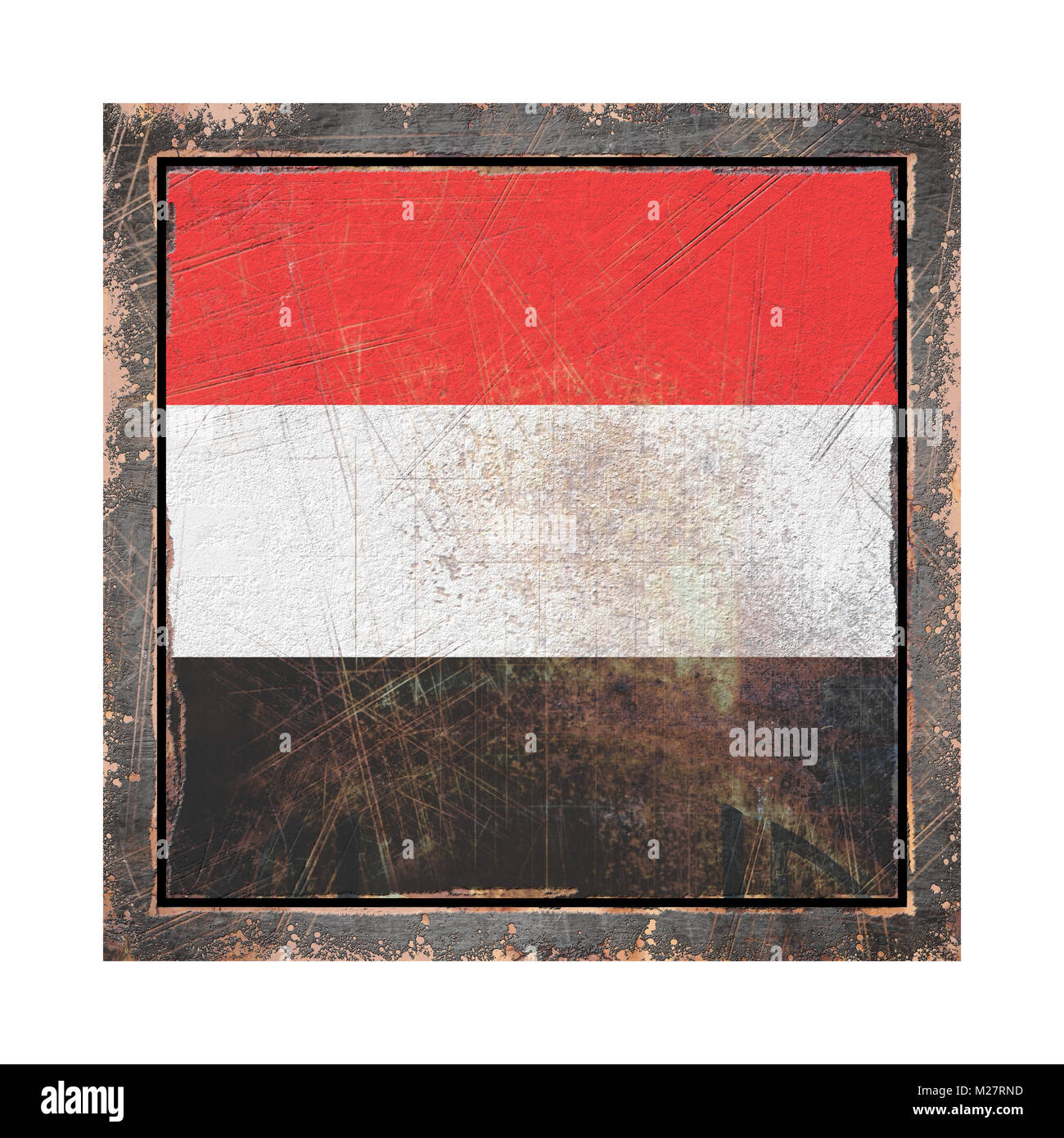 3d rendering of a Yemen flag over a rusty metallic plate wit a rusty frame. Isolated on white background. - Stock Image