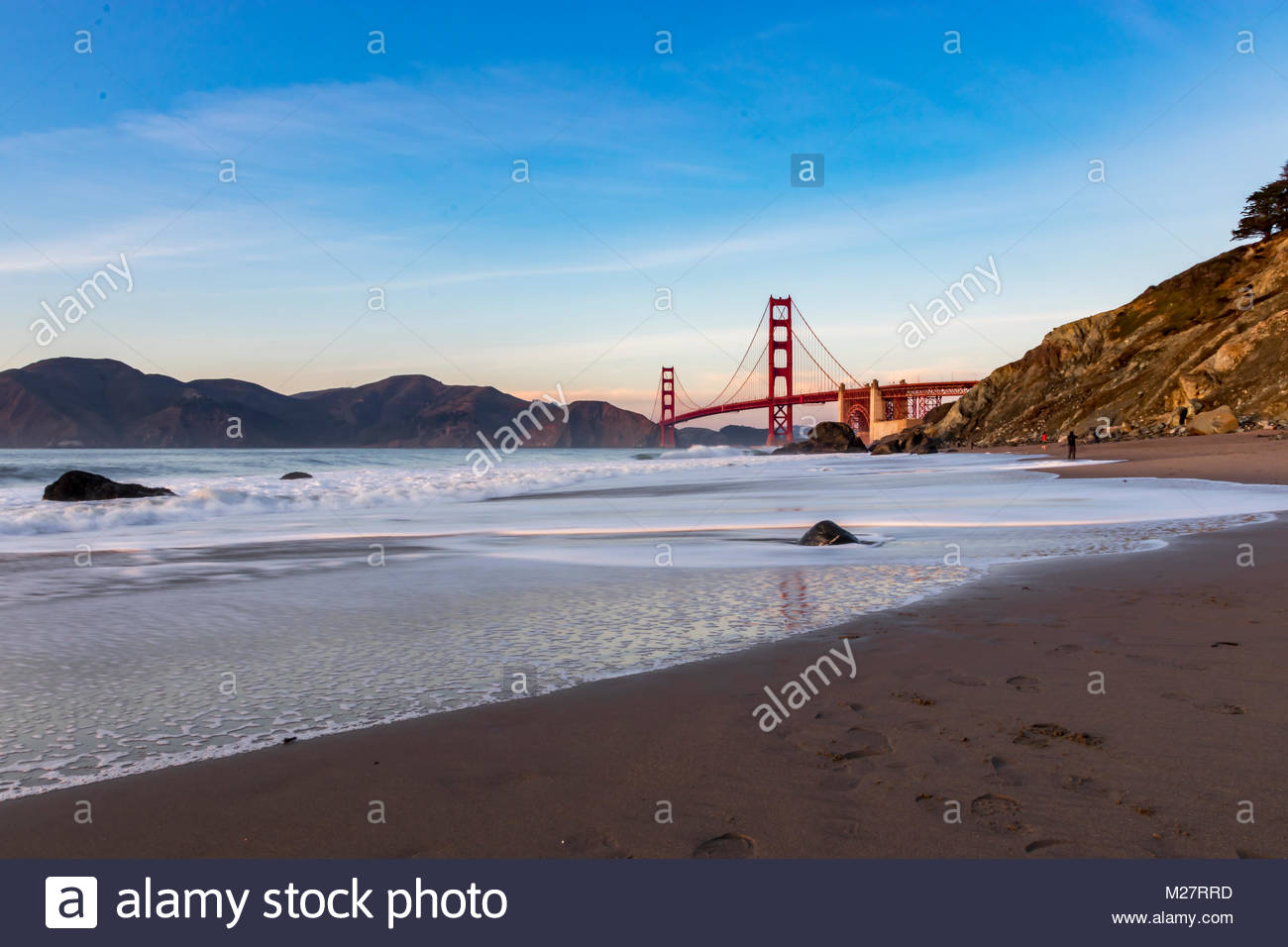 View of the Golden Gate Bridge from Marshall Beach - Stock Image