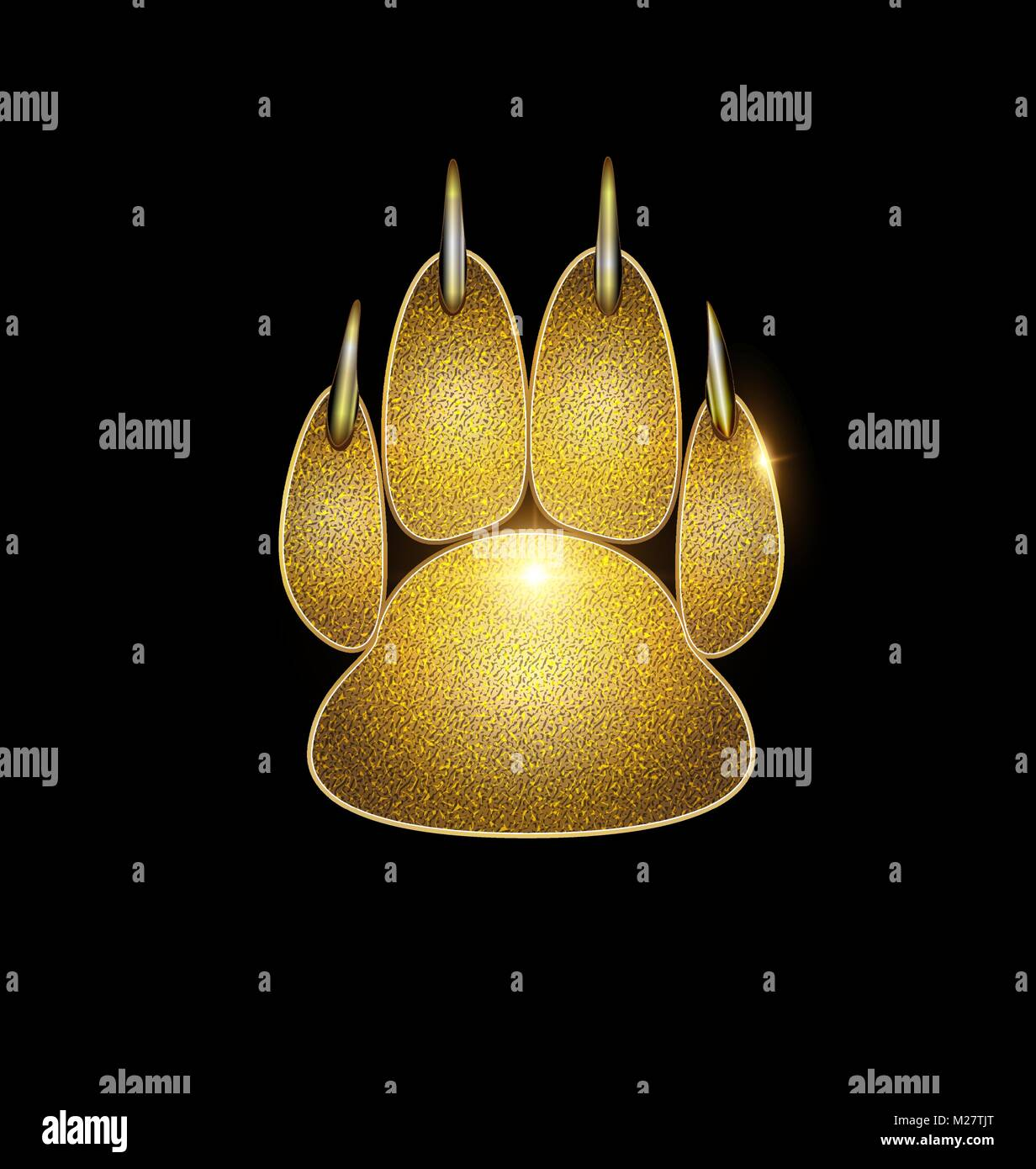 golden trace of paw Stock Vector