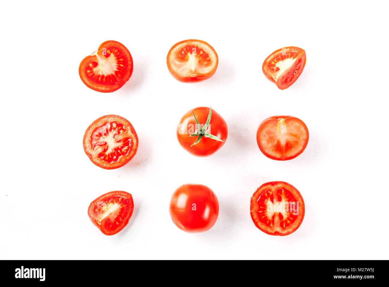 Cartoon Sliced Tomato Stock Photos Prune Tomatoes Diagram Of Plant Fresh Vegetables Raw Whole And Cut On White Background Isolation Copy Space