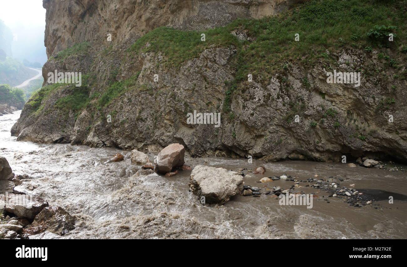 Mountain river in spring time, daylight. Quba Region. Azerbaijan - Stock Image