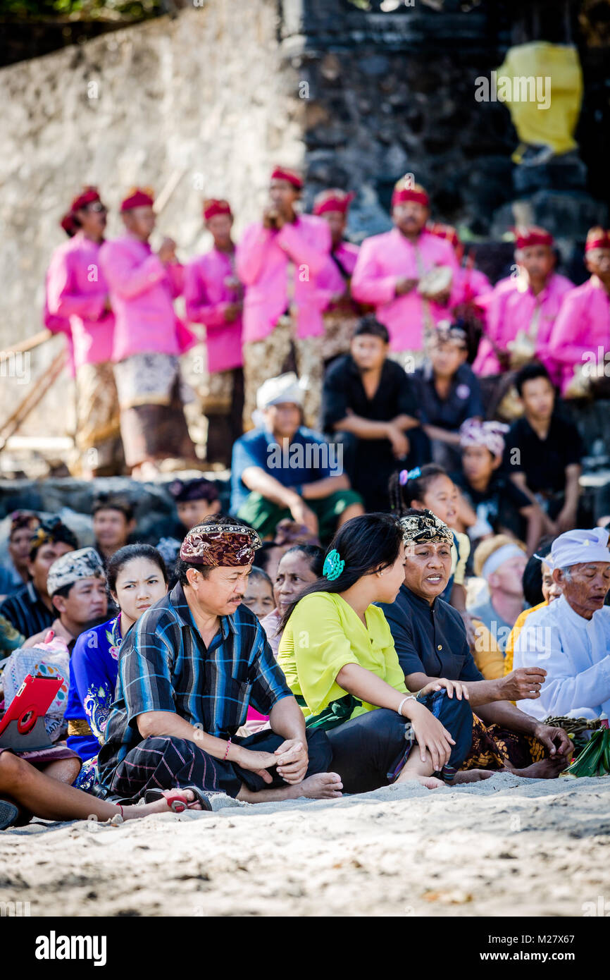 Bali, August 30, 2013: Sea funeral ceremony at Bias Tugel Beach in Bali Stock Photo