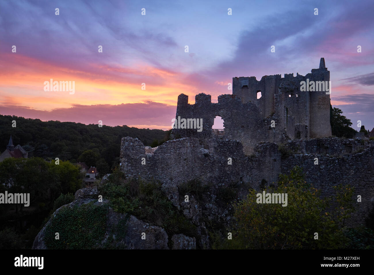 The castle ruins of Angles sur l'Anglin in Vienne France at sunset - One of the most beautiful villages in France. - Stock Image