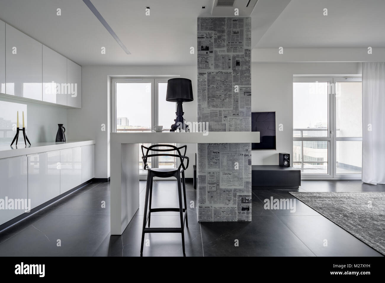Modern Black And White Interior With Magazine Themed Wallpaper Stock