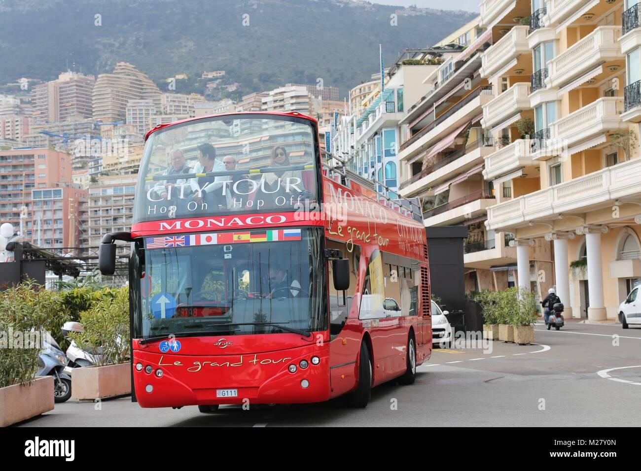 Monaco city tour bus Stock Photo