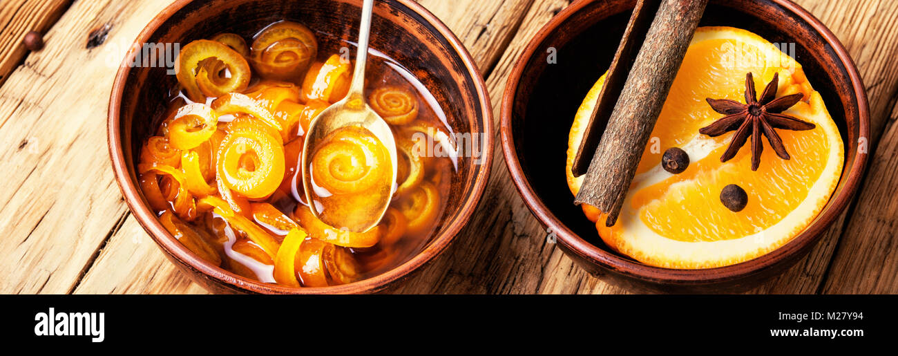 Citrus jelly, homemade jam from orange with spices - Stock Image