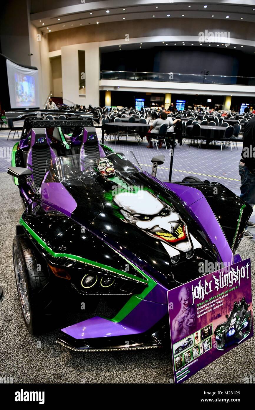 Joker painted polaris slingshot at the 2018 washington auto show washington dc usa