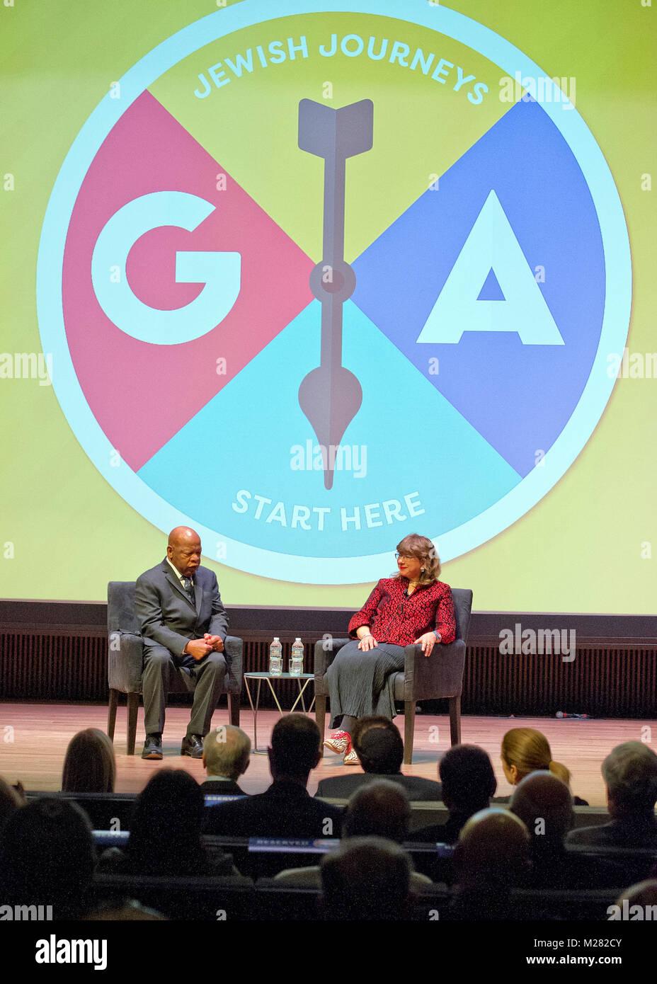 United States Representative John Lewis (Democrat of Georgia), left, and Susannah Heschel, Eli Black Associate, - Stock Image