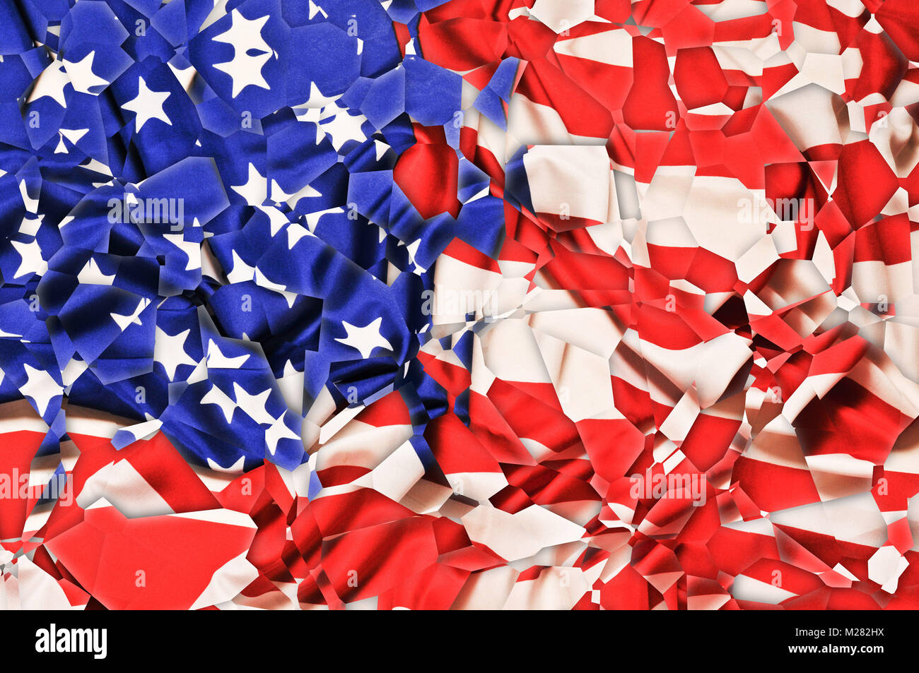 USA flag shattered in pieces, artistic effect - Stock Image