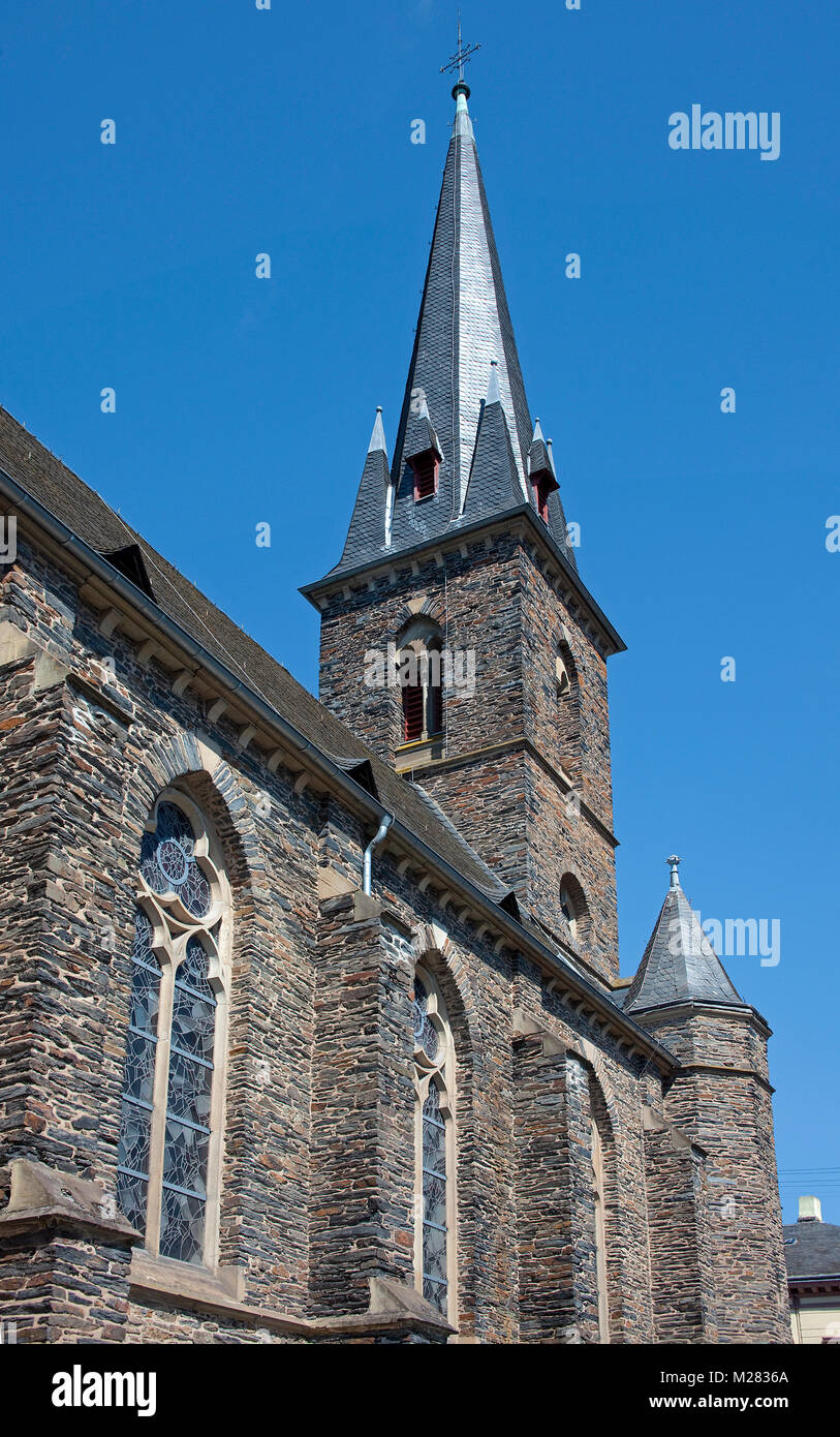 Saint Nikolaus church at Trarbach, Traben-Trarbach, Moselle river, Rhineland-Palatinate, Germany, Europe - Stock Image