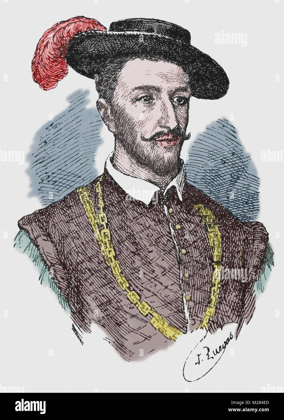 Juan de Grijalva (1489-1527). Spanish conquistador. Engraving, portrait. - Stock Image