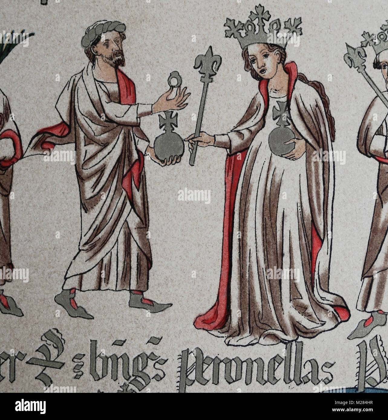 Count of Barcelona Ramon Berenguer IV (1113-1162) and his wife Petronilla (1136-1173). Genealogy of the Crown of - Stock Image