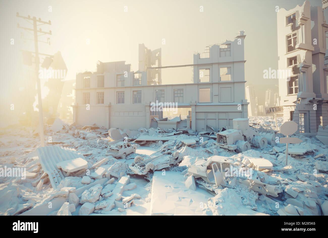 apocalyptic white city sunset. Creative 3D illustration - Stock Image
