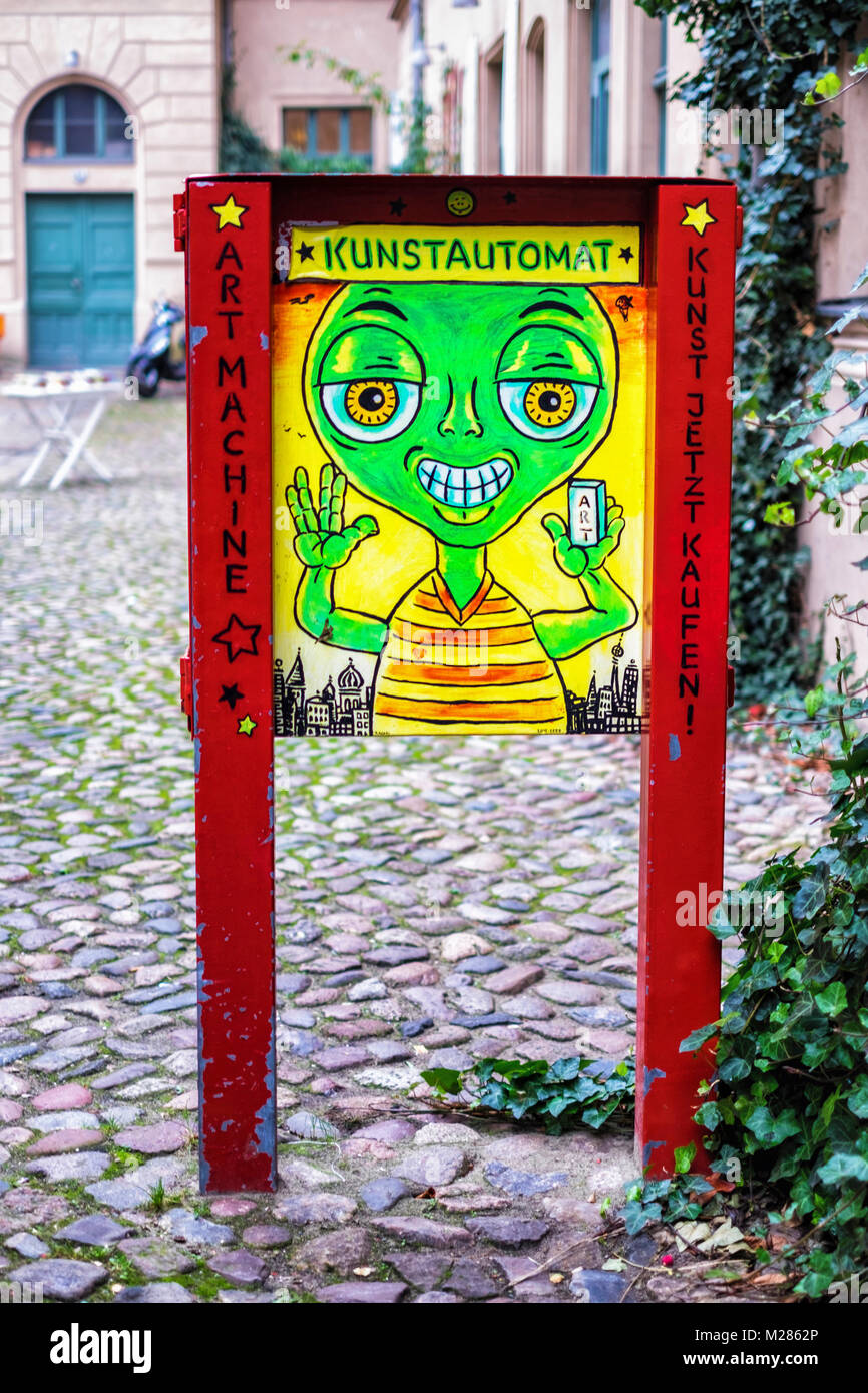 Berlin, Mitte. Kunstautomat selling affordable art. Art Machine dispenses small artworks and leaflets with information - Stock Image
